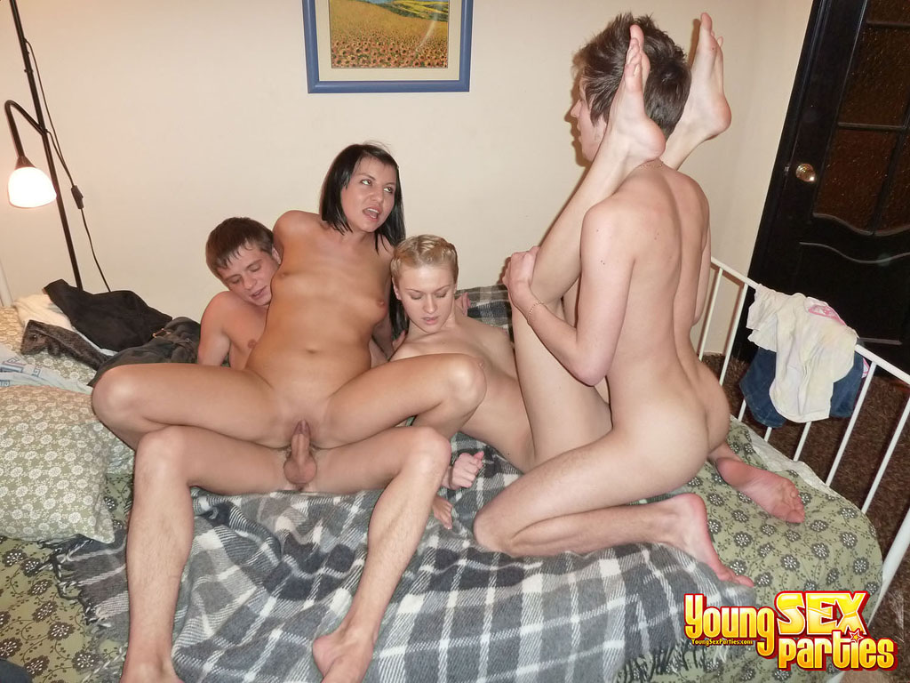 Young sex parties passionate threeway with anal