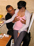 Two brunette girls are banged hard by white and black studs