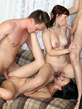 Two Beautiful Babes Give Head And Get Dicks In Wet Pussies - Picture 14