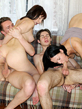 Two Beautiful Babes Give Head And Get Dicks In Wet Pussies - Picture 15