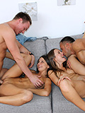 Lucky fellows and their girlfriends in fascinating banging